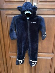 Columbia 12-18 Month Infant Baby Black Bear One Piece Suit Warm Hood W/Ears Paw