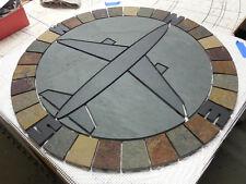 "24"" Handmade Natural Slate Jet Airplane Compass Rose Mosaic Tile Medallion USA"