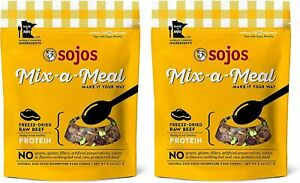 (2 Bags) SOJOS Mix-a-Meal Grain-Free Beef Freeze-Dried Dog Food Mix, 8 Ounce