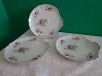 Set of 3 Vtg Lefton China Shell Tea Cup Platters Mauve Floral Roses Shabby
