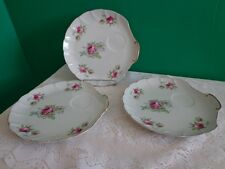 3 Vtg Plates Lefton China Shell Tea Cup Platters Mauve Floral Roses Shabby