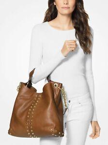 MICHAEL KORS  Astor Studded Leather Shoulder Bag, Luggage/Walnut