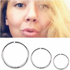 Silver Surgical Steel Ring Hoop Nose Lip Ear Helix Piercing small 0.8/20 Gauge