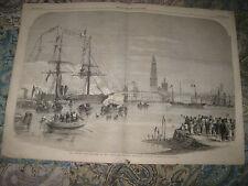 HUGE GORGEOUS ANTIQUE 1858 BRITISH MARITIME PRINT VICTORIAN ROYALTY ANTWERP NR
