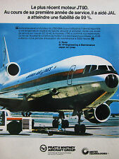 7/1978 PUB PRATT & WHITNEY AIRCRAFT JT9D DC-10-40 AIRLINER JAPAN JAL FRENCH AD