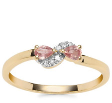 Rare Natural Padparadscha Sapphire Duet & Diamond 9K Yellow Gold Ring Size N-O/7