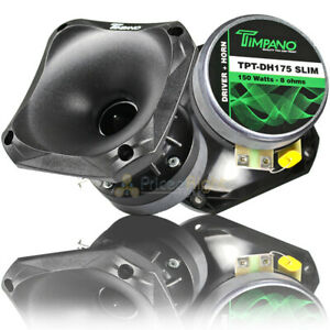 "2 Pack Timpano Slim Compression Horn Driver 150 Watts Max 1"" VC 4x4"" DH175 SLIM"