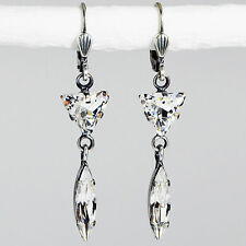 Ohrringe Ohrhänger lang Silber Swarovski Kristall Dreieck Navette – Crystal klar