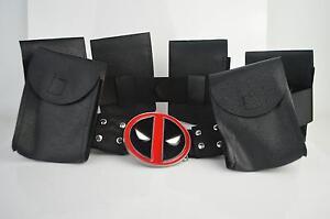 Halloween Deadpool X-Men Black Belt & 6 Bags Accessories Costume Cosplay Prop