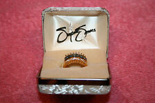 Suzanne Somers Gold over Sterling Silver Ring with Blue Stones & Crystals NIB