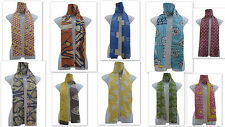 Wholesale Lot of 10 Vintage Cotton Sari Kantha Scarves Hand Quilted Stoles India