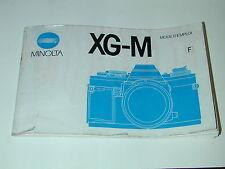 NOTICE MINOLTA XG-M en FRANÇAIS  photo photographie