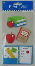 "1970 PAPER BLISS 3D Stickers SCHOOL, BOOKS - 8""x4"""