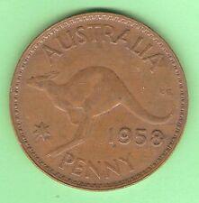 1958  AUSTRALIAN BRONZE PENNY  COIN,  Melbourne Mint, no dot mint mark