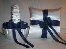 WHITE SATIN / NAVY BLUE RIBBON TRIM FLOWER GIRL BASKET & RING BEARER PILLOW