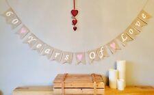 ❤️ 60th Diamond Wedding Anniversary Bunting Banner Hessian Burlap Rustic Vintage