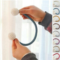 1*Pearl Magnetic Ball Holder Clip Hanging Buckle Tie Back Curtain Strap Home Kit
