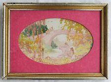Harry de Maine (NY 1889-1952) Watercolor Painting Nudes Swimming under Bridge