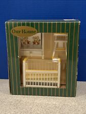 Our House Nursery White/Yellow Wood Dollhouse Furniture Crib, Highchair, Cabinet