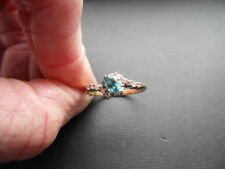 LADIES 9CT GOLD BLUE TOPAZ & DIAMOND ENGAGEMENT RING