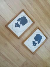 Set of 2 Silhouette PAPER CUTTING pictures Victorian style signed