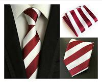 Tie Pocket Square Set Dark Red White Stripe Patterned Handmade 100% Silk