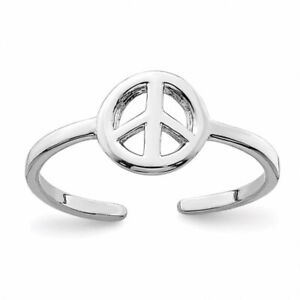 925 Sterling Silver Peace Sign Toe Ring Rhodium Plated