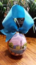 Russian St. Petersburg Wooden Painted Lacquer Easter Egg Master Signed 2004 blue