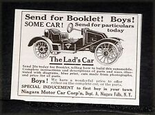 1914 OLD MAGAZINE PRINT AD, NIAGARA MOTOR CARS, THE LAD'S CAR, COMPLETE OR KIT!
