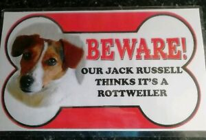 Jack Russell Beware of the dog sign 12cm x 21cm