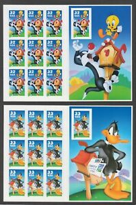US Looney Tunes 2 Imperforate sheets - Tweety & Daffy, Sc 3205, 3307, MNH