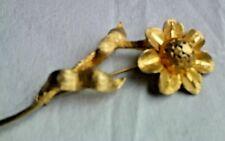 BSK Vintage 1960's Brushed Gold Tone Flower Brooch Signed