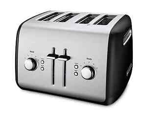 KitchenAid 4-Slice Extra-Wide Slot Metal Toaster w/ Illuminated Buttons in Black