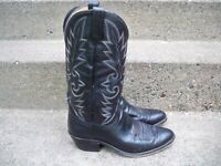 Vintage Dan Post Black Leather Cowboy Mens Western Rancher Riding Boots Size 9.5