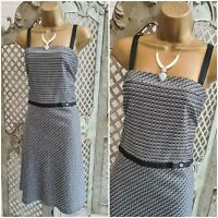 LAURA ASHLEY UK 14 GREY DOTTY PRINT BOW WAIST FIT & FLARE DRESS SUMMER RETRO