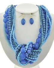 Multi Strand Multi Turquoise Blue Lucite Bead Big knot Chunky Necklace Earring