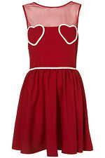 New Topshop Pinky-Red Heart Mesh Flippy Summer Skater Tea Party Dress UK 10