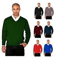 New Mens Workwear Corporate Wear V-Neck Knitted Wool-Mix Jumper Raglan Sleeves