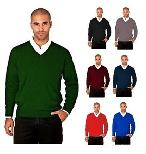Mens Knitted V-Neck Wool Mix Jumper Long Sleeve Tight Knit Sweater Jersey