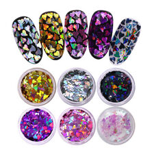 6 Boxes Holographic Nail Art Glitter Sequins Colorful Heart Flakes 3D Decoration