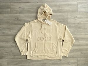 Gucci Hoodie Embroidered Tennis Logo Cream Small Oversized
