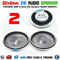 2pcs Speaker 30x6mm Dia 8 Ohm 2W Mini Micro Audio Magnetic for Arduino