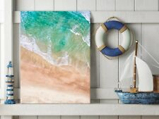 FRAMED 70x50cm Large Canvas Prints - Aerial view of a sandy beach| HOME DECOR