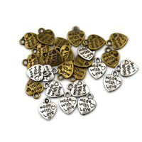 50x Silver/Bronze Plated MADE WITH LOVE Heart Charms Pendants Jewelry Parts JB