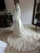 Lovely Handmade Silk Medallions Tulle Ivory 3 Piece Antique Wedding Gown Small