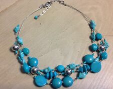 """Chico's 3 Strand Silver Tone & Tuquoise Color Bead Necklace 18""""-22"""""""