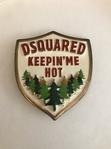 Vtg DSQUARED Keepin' Me Hot Forest Ranger Belt Buckle Heavy Brass Enamel Men's
