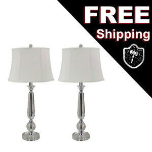 Modern Table Lamp Set Clear Crystal Ball Fabric Shade 3-Way A19 LED or Standar