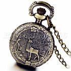 Bronze Steampunk Reindeer Antlers Quartz Analog Pocket Watch Pendant Necklace