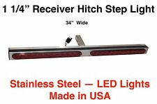 Hitch Step Light Bar S/S 1 1/4 Tongue 34Lg RV p/uTruck SUV Harley Towed Car Nerf